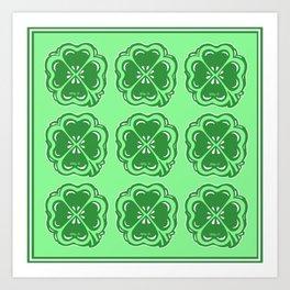 Lucky Clovers Pattern Art Print