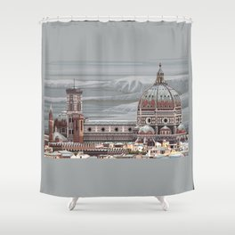 Cathedral Santa Maria del Fiore, pixel art Shower Curtain