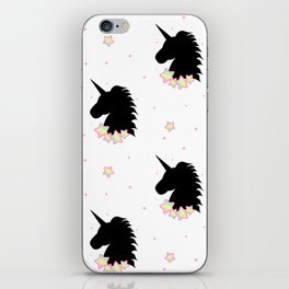 cute cartoon patern wih black unicorn silhouette with rainbow stars iPhone Skin