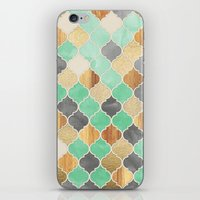 bedding iPhone & iPod Skins featuring Charcoal, Mint, Wood & Gold Moroccan Pattern by micklyn