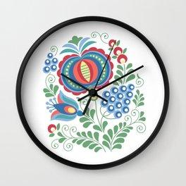 Moravian Folk Design Grapes Wall Clock
