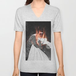 The flames of love. Unisex V-Neck