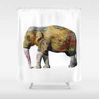 tatoo Shower Curtains featuring Damn Tatoo Artists by Robin Curtiss