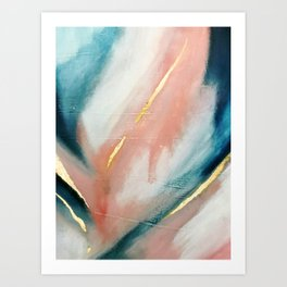 Celestial [3]: a minimal abstract mixed-media piece in Pink, Blue, and gold by Alyssa Hamilton Art Art Print