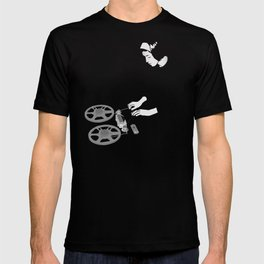 Delia with reel to reel audio tape recording T-shirt