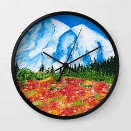 Mt. Rainier Meadows Wall Clock