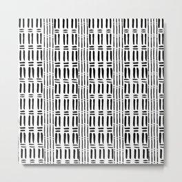Black white hand painted watercolor brushstrokes pattern Metal Print