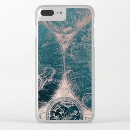 Antique Map Rose Gold Navy Blue Clear iPhone Case