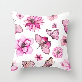 Pretty Pink Flowers & Butterfly's Throw Pillow
