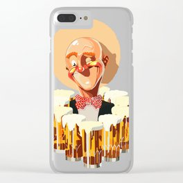 Happy bald man with beers Clear iPhone Case