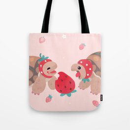 Tortoises love strawberries Tote Bag