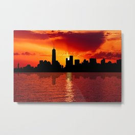 skyline new york city sunset dusk Metal Print