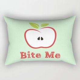 Red Apple Illustration - Bite Me Typography Rectangular Pillow