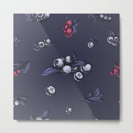 Blueberry pattern, trendy ultraviolet color Metal Print