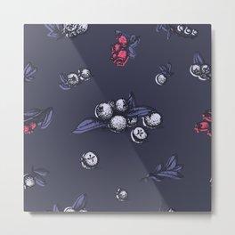 Blueberry pattern, trendy ultraviolet color Metal Print