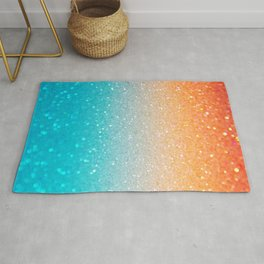 Glitter Teal Gold Coral Sparkle Ombre Rug