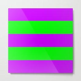Neon Purple & Green Wide Horizontal Stripes #2 Metal Print