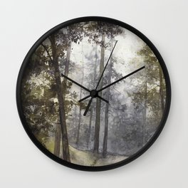 Wet Morning in the Forest Wall Clock
