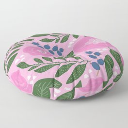 Modern Pink Floral Pattern With Chic Contemporary Leaves Floor Pillow