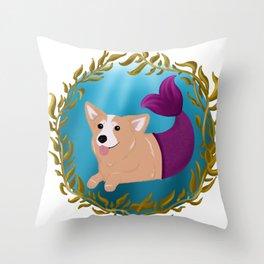 Corgi in Seaweed Throw Pillow