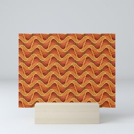 Gold Foil Waves of the Sea Pink Froth Dark Sea Mini Art Print