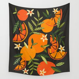 Orange Blooms – Charcoal Wall Tapestry