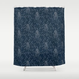Octopus Squiggly King Of The Sea Pattern Shower Curtain
