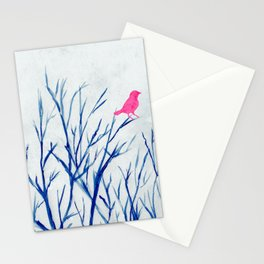 Perching bird on winter tree Stationery Cards