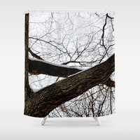 wooden Shower Curtains featuring Wooden Crossing by Julie Maxwell