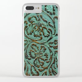 Aqua Flowers Tooled Leather Clear iPhone Case