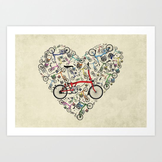 I Love Brompton Bikes Art Print