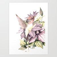 Hummingbird with Flowers Art Print