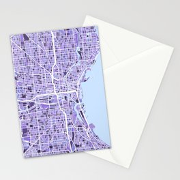 Milwaukee Wisconsin City Map Stationery Cards
