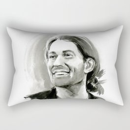portrait of laughing man Rectangular Pillow