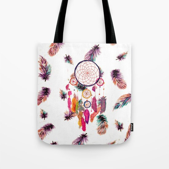 Hipster Watercolor Dreamcatcher Feathers Pattern Tote Bag