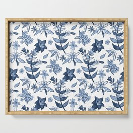 Monochrome Blue Alpine Flora Serving Tray