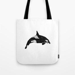 Killer Whale minimal linocut basic orca sealife ocean animals art black and white Tote Bag