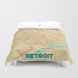 Detroit Map Retro Duvet Cover