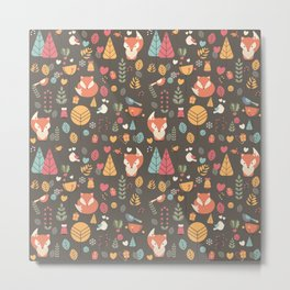 Baby fox pattern 04 Metal Print