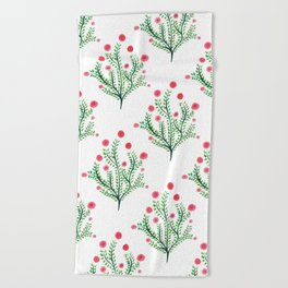 Abstract Spring Plant In Pink And Green Beach Towel