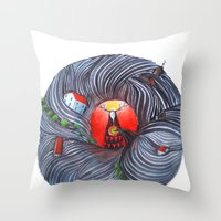 evil Throw Pillows featuring Evil by Valentina Gruer