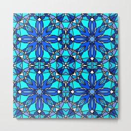 Blue Stained Glass Metal Print