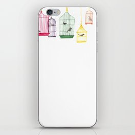 Colorful Bird Cages, Birds in Cages, Watercolor Art iPhone Skin
