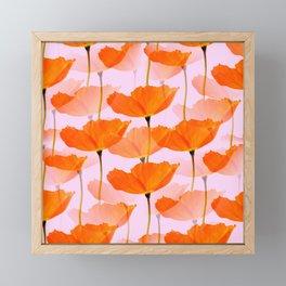 Orange Poppies On A Pink Background #decor #society6 #buyart Framed Mini Art Print