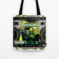 doom Tote Bags featuring DOOM by D.Armendariz