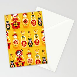 Russian Nesting Dolls – Yellow & Red Stationery Cards