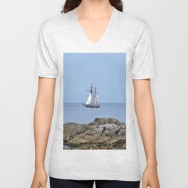 Tall ship Sailing by the point Unisex V-Neck