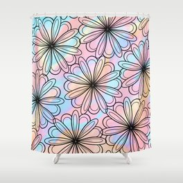 Pink teal watercolor black hand drawn floral Shower Curtain
