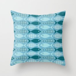Shoals of Floral Fish Throw Pillow