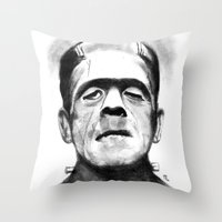 frankenstein Throw Pillows featuring Frankenstein by Zombie Rust